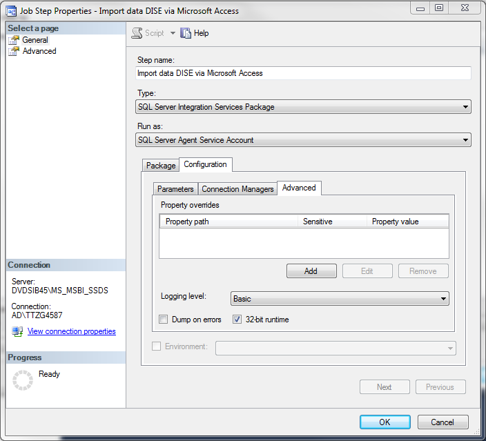 SSIS execution result in SQL Server