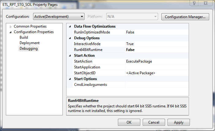 SSIS package properties