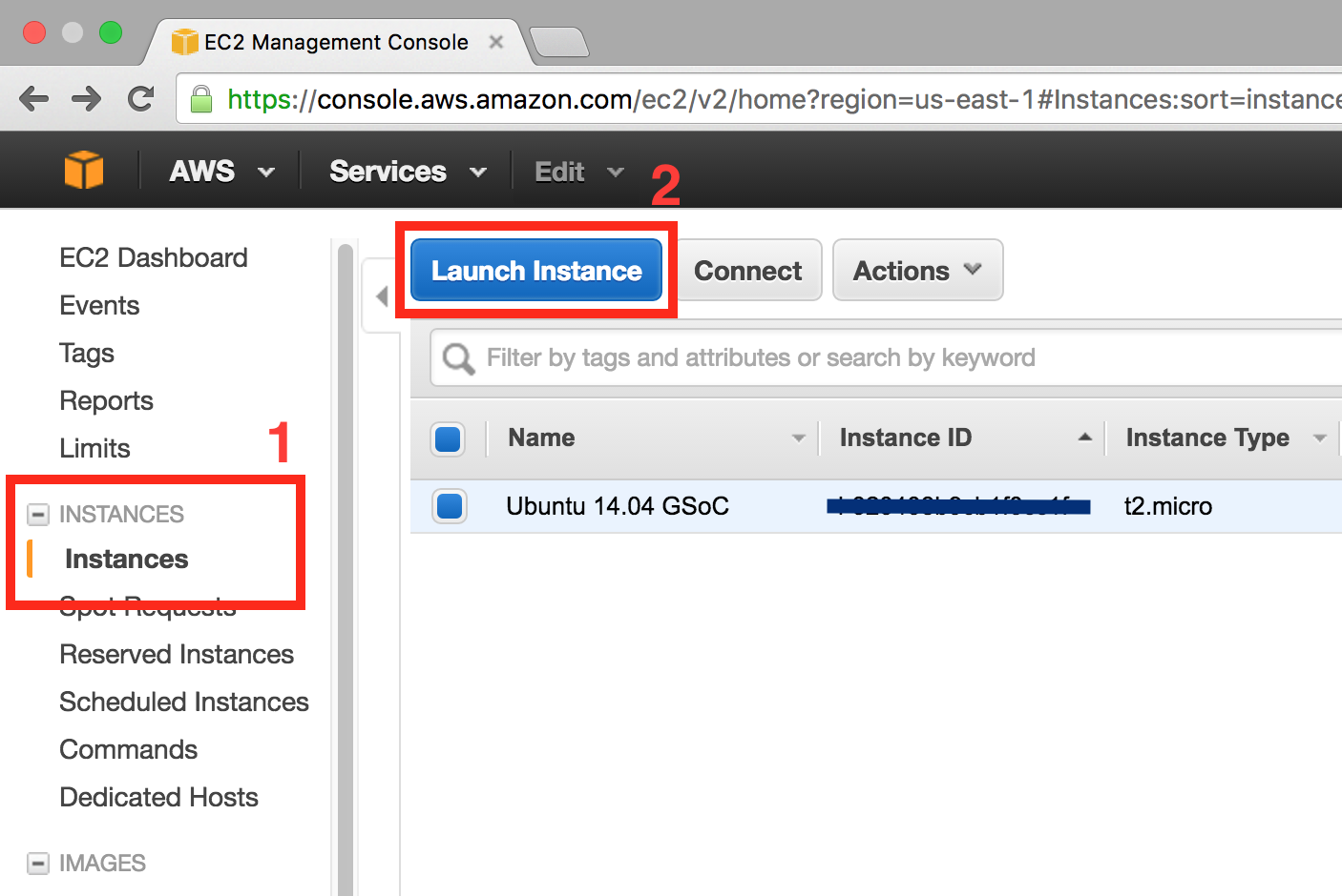 AWS console EC2, create instance step 0