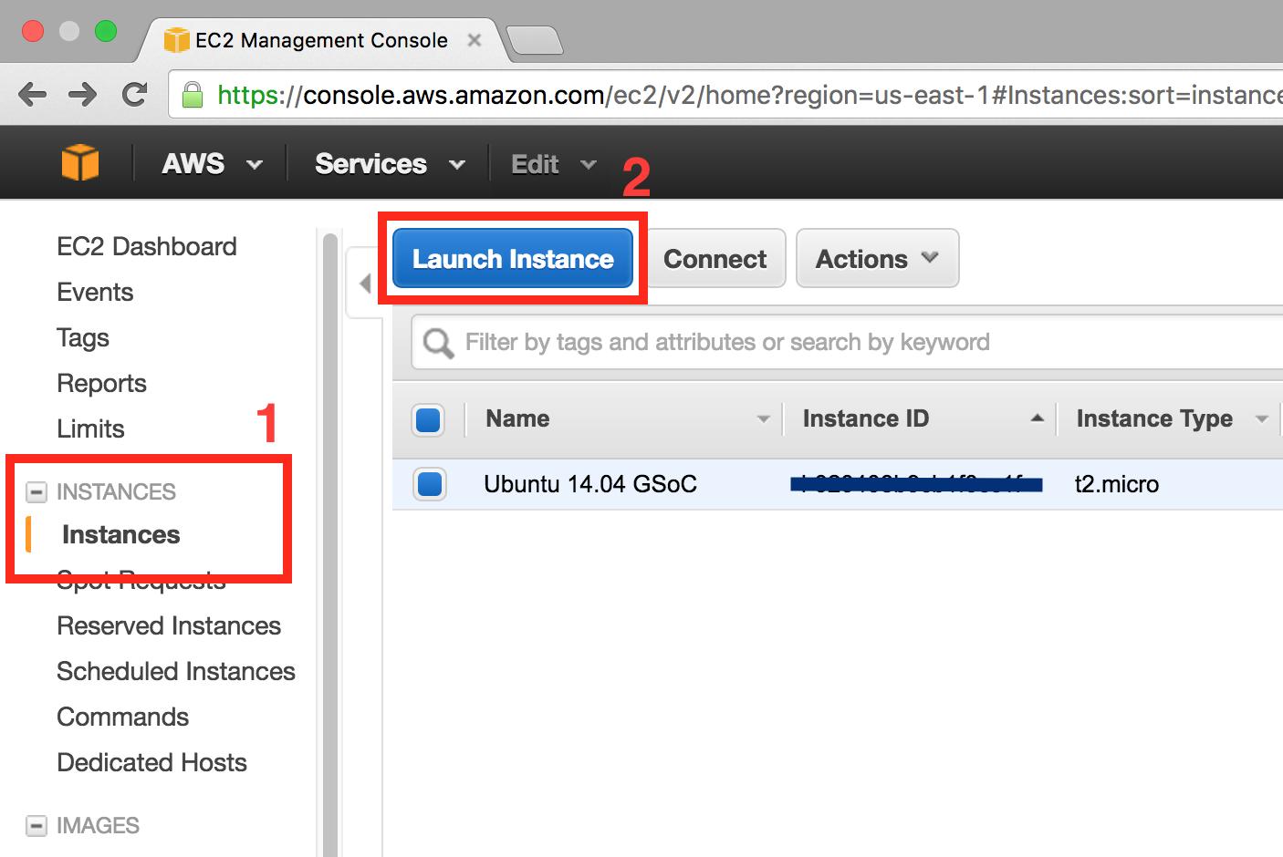 AWS console EC2, create instance step 0