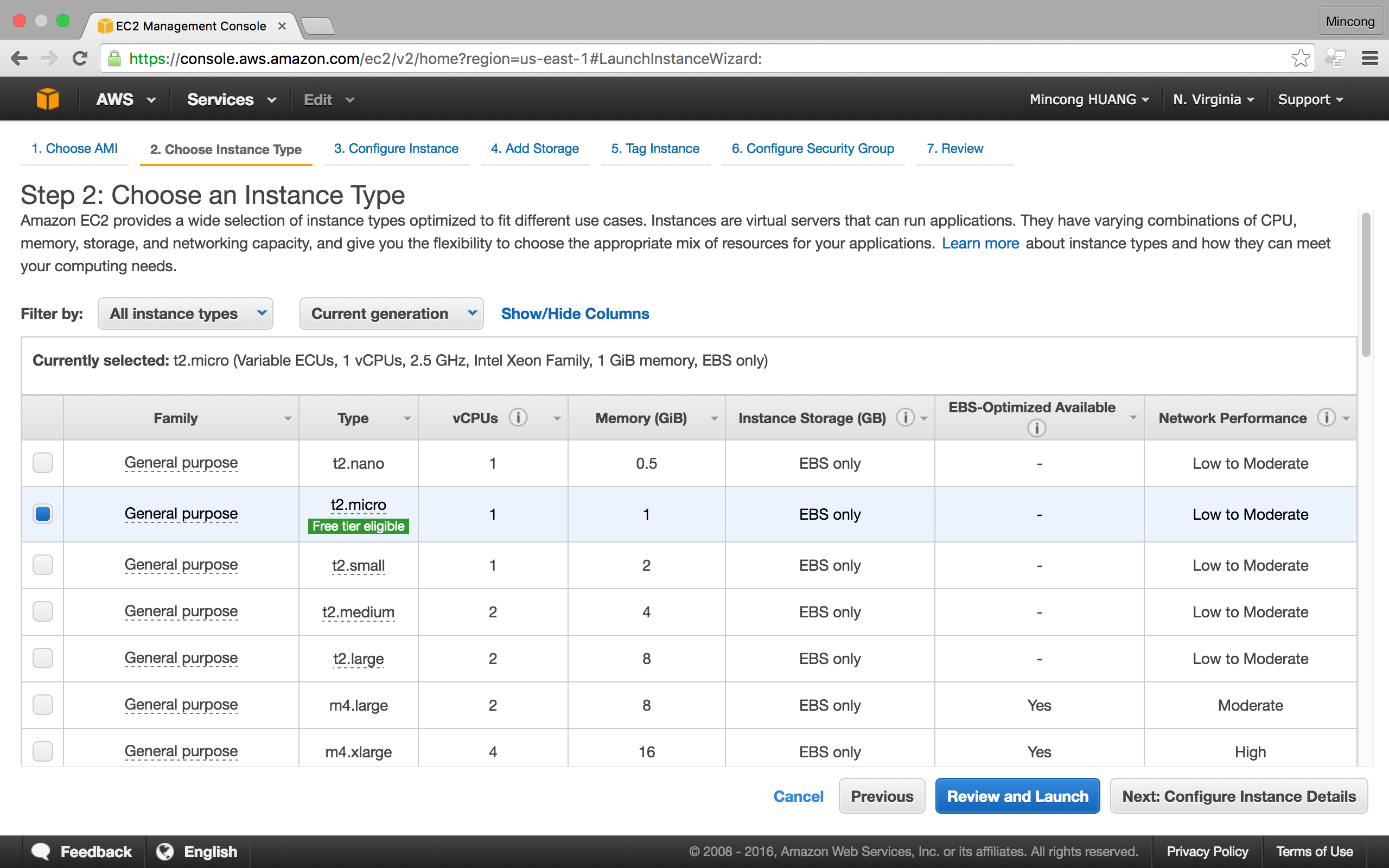 AWS console EC2, create instance step 2