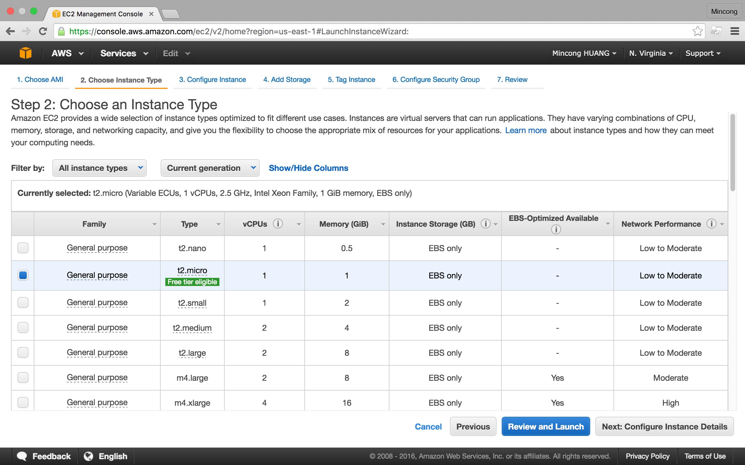 AWS console EC2, create instance step 2