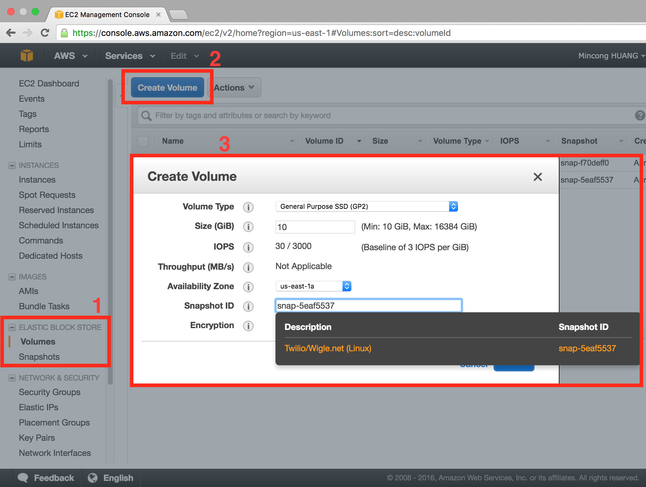 AWS console EC2, create volume