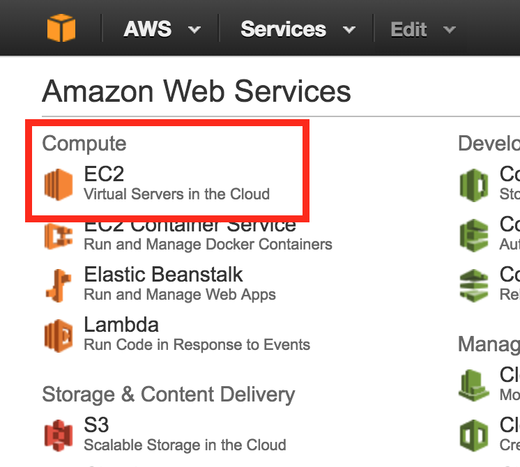 AWS console overview, focus EC2