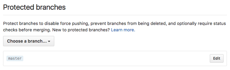 Protect the Master branch from GitHub