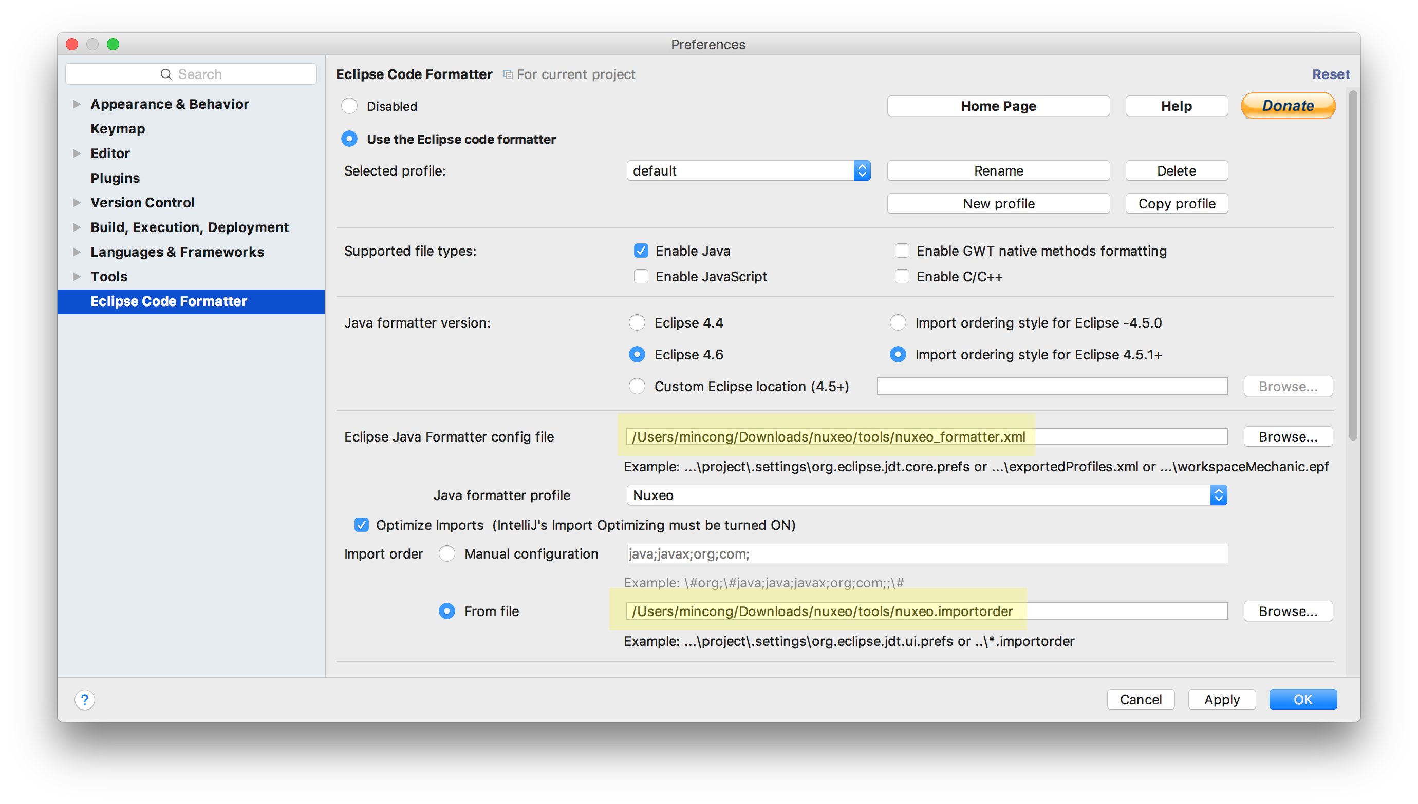 IntelliJ - Plugin 'Eclipse Code Formatter'