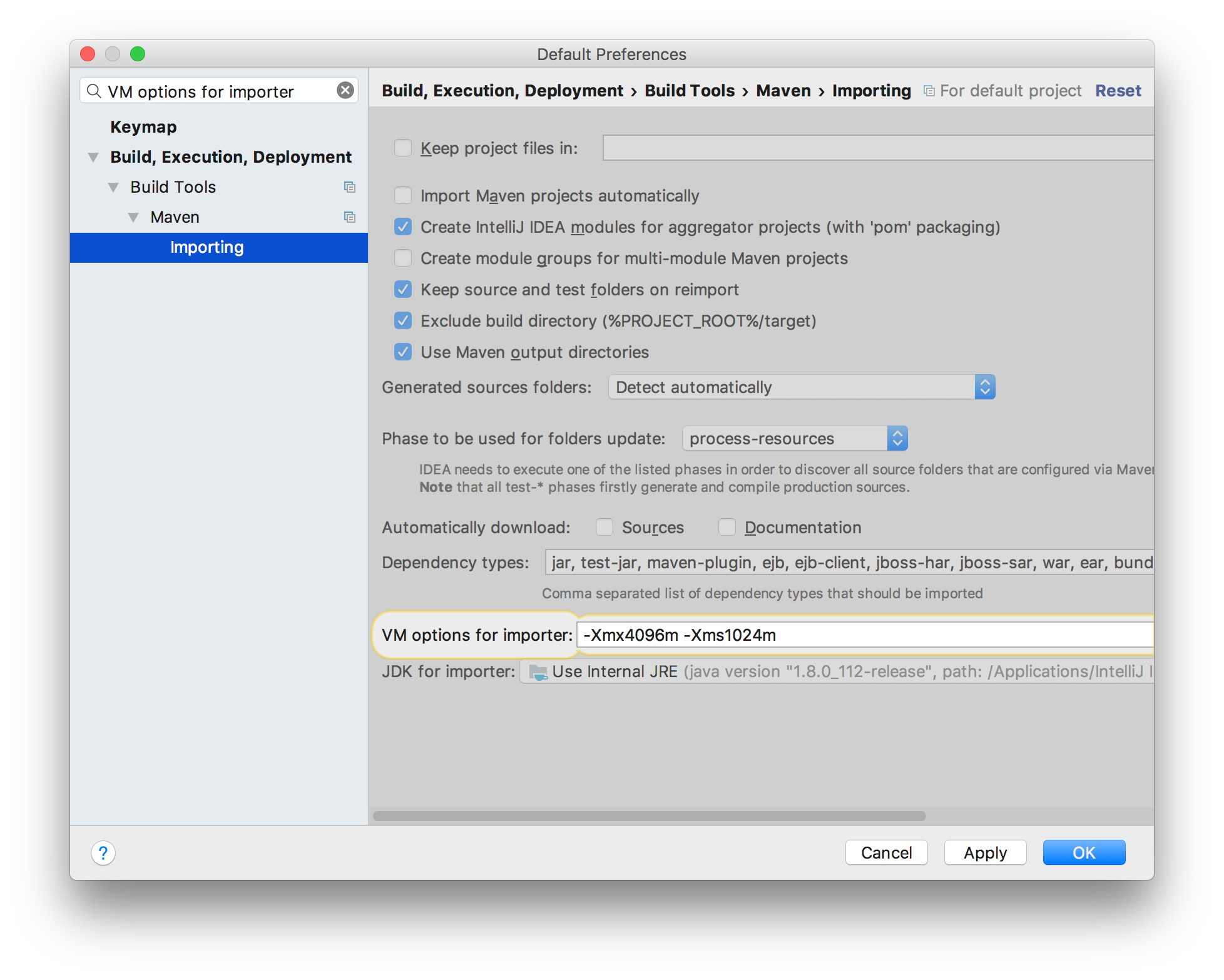 IntelliJ - VM options for importer