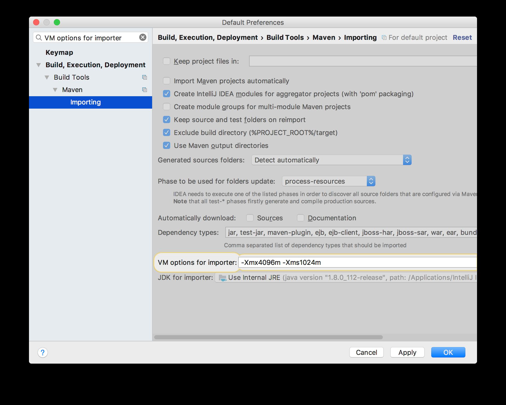 IntelliJ - VM options for importer
