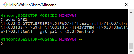Bash PS1 in MinGW64