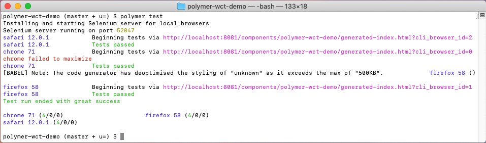command 'polymer test'