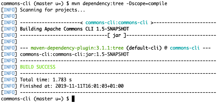 maven dependency tree of scope compile on project Apache Commons CLI